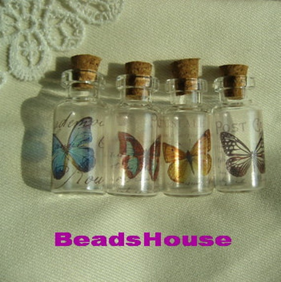 4pcs - Handmade Photo GlassTiny Bottle Charms/Pendants - Butterfly with /4pcs Eye Hook(GB-03)