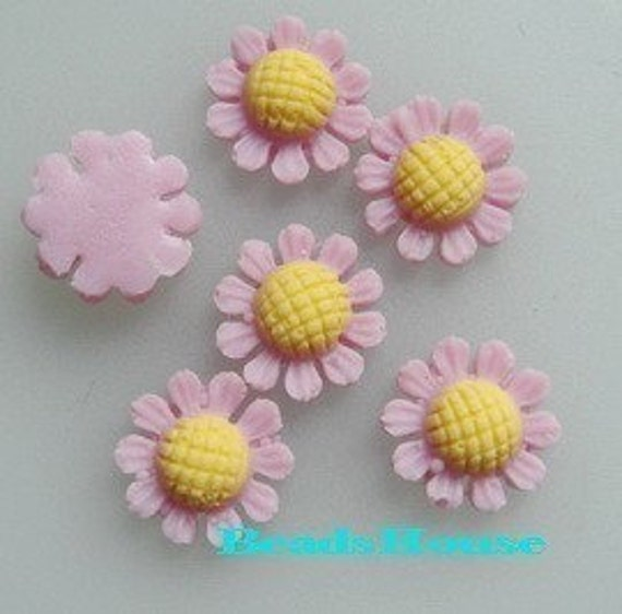 304-00-257YL-CA 6 Pcs  Petite  Sun Flower Cabochons,Tulip.