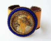 RESERVED for LEAH - The Blonde - bead embroidered Cuff Bracelet. Seed beads, leather