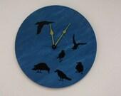 Murder of Crows Dark Blue Wall Clock Olyteam