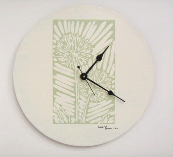 Dandilion Block Print Wall Clock  olyteam