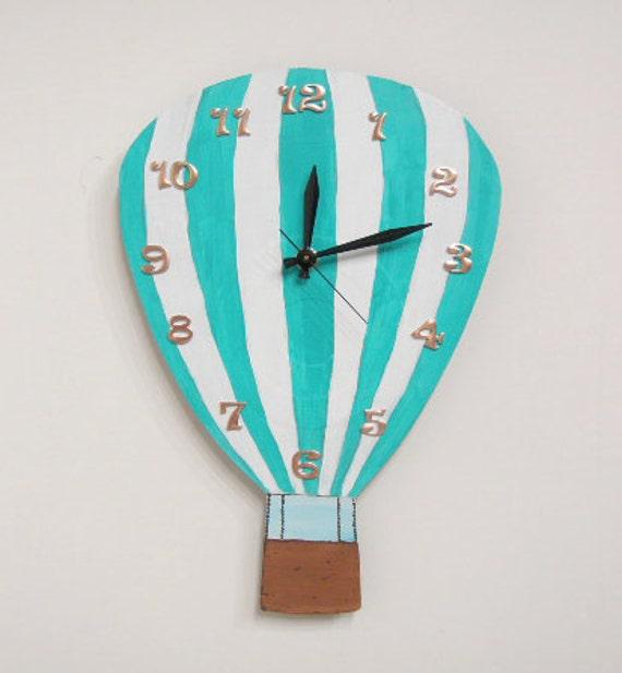 Hot Air Balloon Clock blue and white  Olyteam