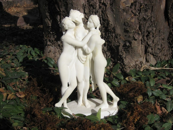 RESERVED-The Three Muses Vintage Bisque Statue