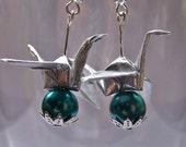 Silver Origami Crane Dangle Earrings