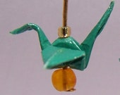 Earrings Green Gold Origami Crane(small)