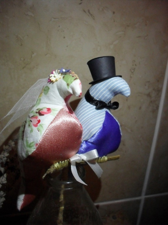 Top Hat for Wedding Love Bird Cake Topper