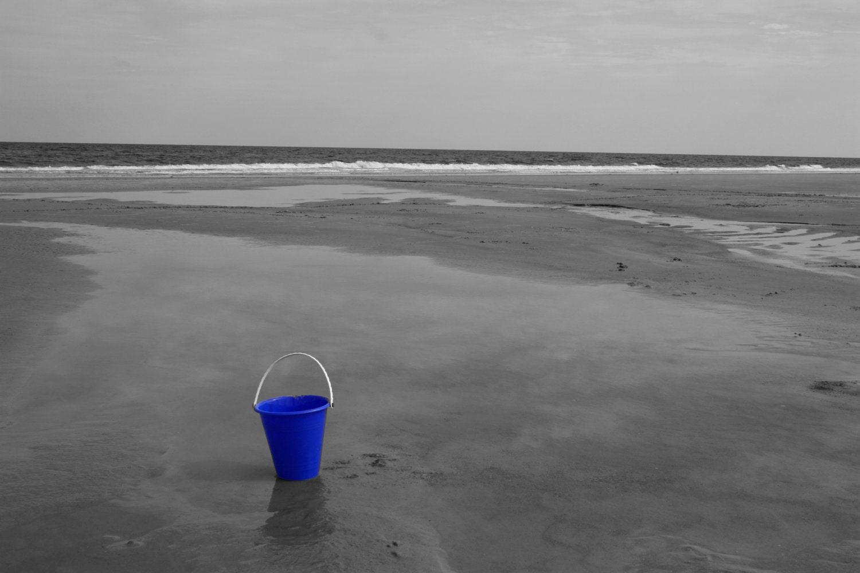 Blue solo 10 x 8 black and white beach print by ladybugonaleaf
