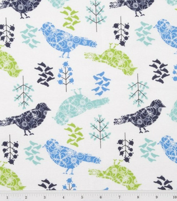 Flannel Playard Sheet / Pack n Play --  Winter Blue Birds, SALE