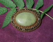 Beaded Brooch - Green Stone Brooch