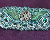 Barrette - Beaded Green Wings