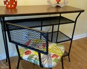 Vintage Mid Century Modern Desk and Chair Black Wireware with Barkcloth Fabric of Atomic Design