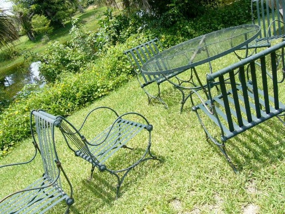 RESERVED for Lisa until July 16th   Vintage Patio Set Forest Green Metal 6 Chairs 1 Table PLUS an Accent Table 8 Pieces