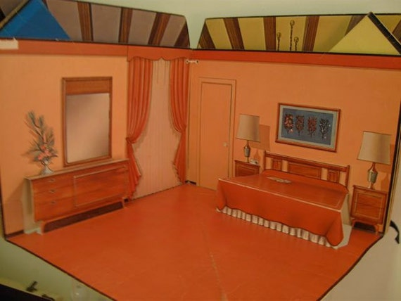 Vintage Dollhouse Mid Century Modern Fold Out By Modernlogic