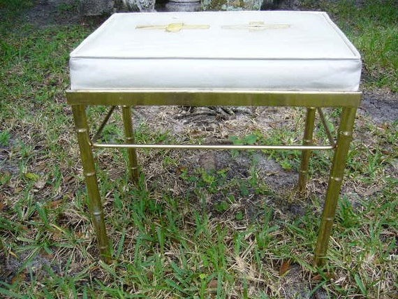 Vintage Faux Bamboo Stool for Your Vanity, Piano, Mudroom...