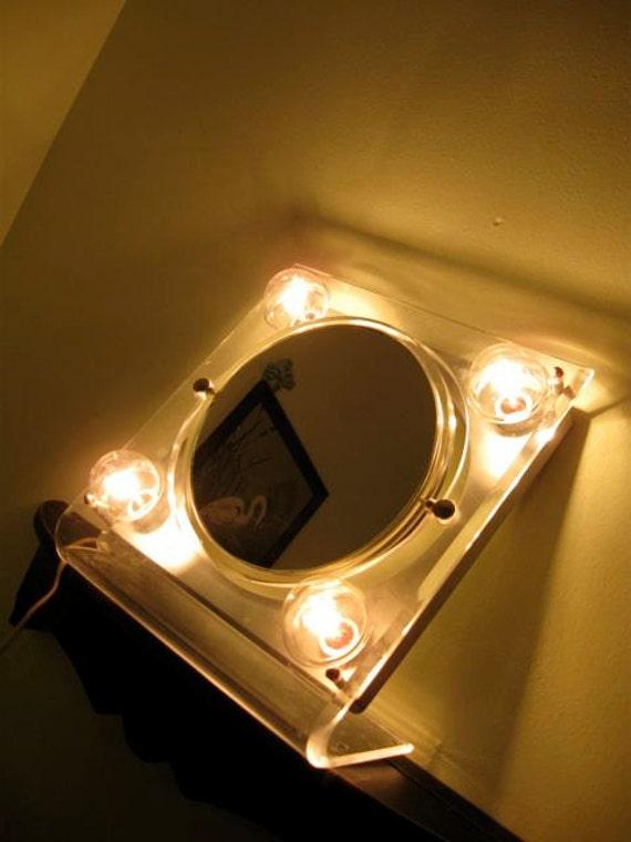 Vintage Lucite Rialto Lighted Make Up Mirror Hollywood Regency