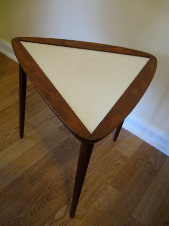 Vintage Atomic Triangle Accent Table Mid Century Modern