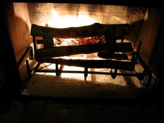 Vintage Firewood Light  Lighting Lamp Fireplace Andirons