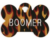 Pet Tag Personalized on Two-Sided Large Flame Bone