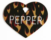Pet Tag Personalized on Two-Sided Large Flame Heart