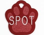 Pet Tag Personalized on Two-Sided Large Paw in 10  Colors
