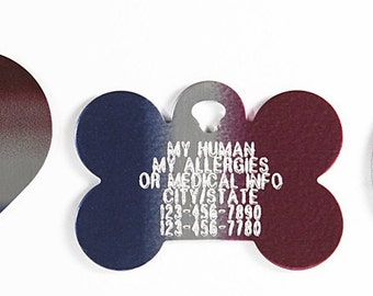 Pet Tag Personalized on Two-Sided Large Red/White/Blue Bone