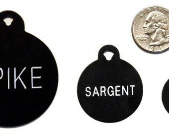 Pet Tag Personalized on Two-Sided Extra-Large Circle in 3 Colors