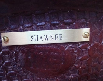 Horse Saddle Plate in Brass, Personally Engraved