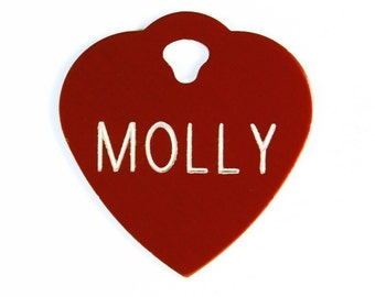 Pet Tag Sale Personalized on Two-Sided Small Heart in 10 Colors