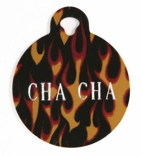 Pet Tag Personalized on Two-Sided Large Flame Circle