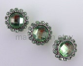 B0010 - Set of NINE (9) Gorgeous Light Mint Rhinestone Buttons
