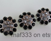 BD0006 - Set of THREE Gorgeous and Unique Clear and Black Rhinestone Buttons