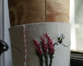 Eco Friendly Wool Coffee Tea Cup Cozy or Cuff with a Bee Buzz Buzz