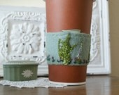 Handmade Drink Cozy Eco Friendly Wool Coffee Tea Cup Cozy or Cuff with  Snapdragon Flowers