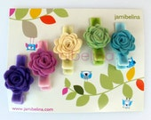 Sweet Set of Five (5) Mini Felt Rose Hairclips - soft rainbow assortment for every outfit