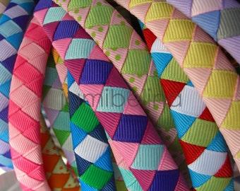 HALF INCH woven headband - U PICK or Pink Stripes
