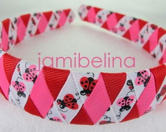 ONE INCH wide woven headband - Hot Pink and Red Lucky Ladybugs