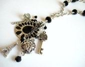 Long Black Chain Eiffel Tower Charm Necklace - FREE SHIPPING