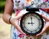 Impatient pregnant woman with clock 8x10 Fine Art Photograph