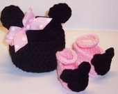 American GirL DoLL Clothes 18 inch DoLL HaT PinK BoW MINNIE MOUSE  BeaNIE and Doll SHoes, also will fit the bitty baby
