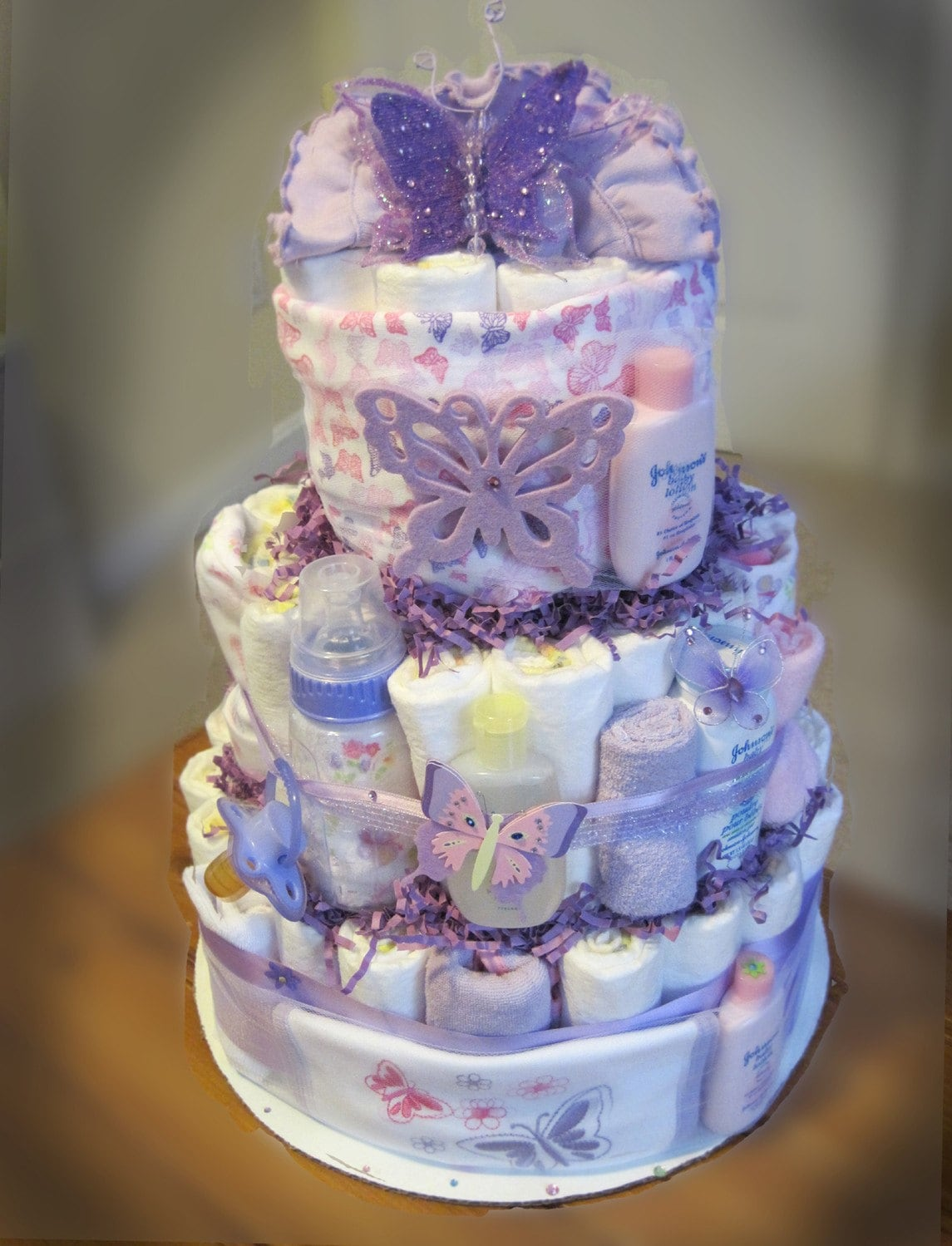 Purple butterfly baby shower diaper cake for Baby shower decoration butterfly