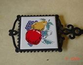 Vintage Cast Iron Trivet - Fruit
