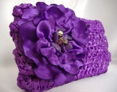 Michaela -Satin Ribbon Clutch with Beaded Flower - Purple - Handmade