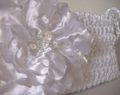 Michaela - Diamond White Satin Wedding Clutch Wristlet with Beaded Flower - Handmade - Ready to Ship