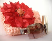 Michaela - Peach Satin Clutch with Flower  - Weddings, Formal, Prom, Evening, Fun - Handmade - Ready to Ship