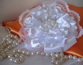Wedding Outstanding Diamond White Handmade Satin Flower Headpiece embraced with Pearls, Lace and Ribbon.