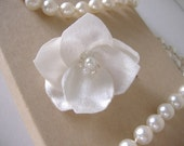 Satin Wedding Hair Flowers - Four 2 Inch Handmade Delicate Off White Ivory - Ready to Ship