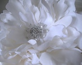 Wedding - Gorgeous Large Peony Silk Hair Flower in Off White with Rhinestones Crystals and/or Pearls Center - Made to Order