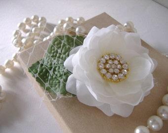 Delicate White Silk Wedding Hair Flower with Rhinestone Center - Alligator Clip
