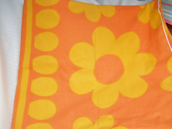 Vintage twin Flat sheet, Super Groovy Flowers, Orange and yellow