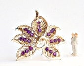 Purple Fashion Coro Brooch Rhinestone Leaf